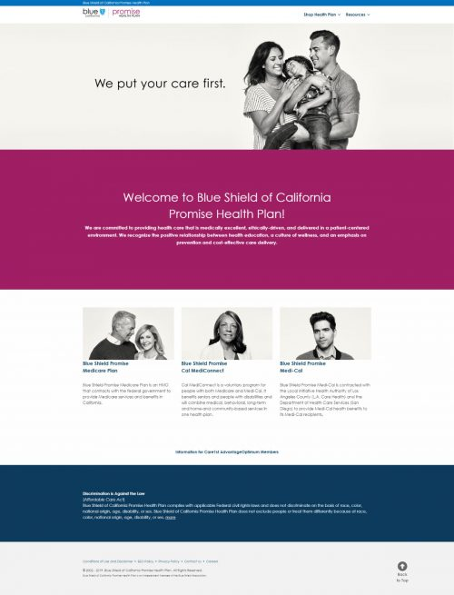 Blueshield of California Promise Health Plan website